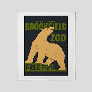 Polar Bear Zoo Throw Blanket