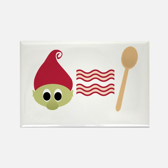 Red Troll Bacon Spoon Rectangle Magnet