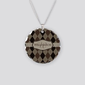 Brown Argyle Monogram Name Necklace Circle Charm