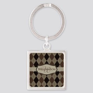 Brown Argyle Monogram Name Square Keychain
