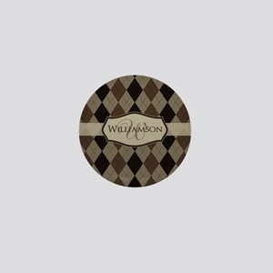 Brown Argyle Monogram Name Mini Button