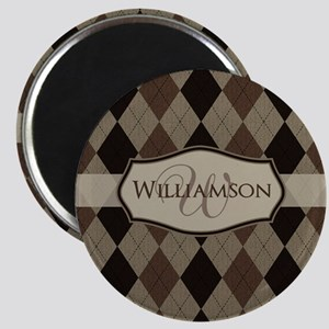 Brown Argyle Monogram Name Magnet