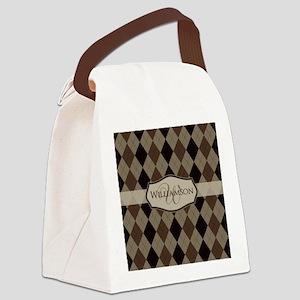 Brown Argyle Monogram Name Canvas Lunch Bag