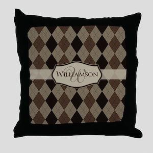 Brown Argyle Monogram Name Throw Pillow