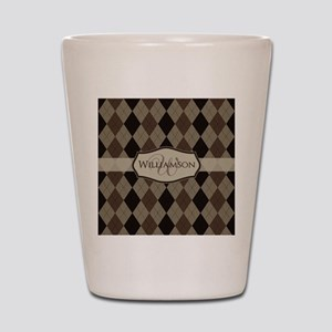 Brown Argyle Monogram Name Shot Glass