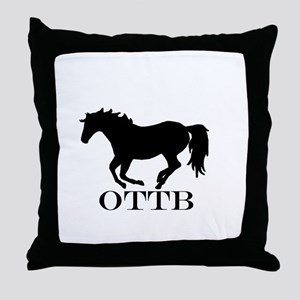 Off Track Thoroughbred Throw Pillow