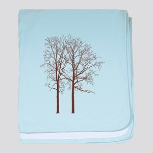 Brown Trees baby blanket