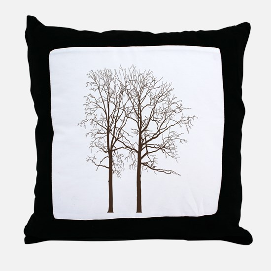 Brown Trees Throw Pillow