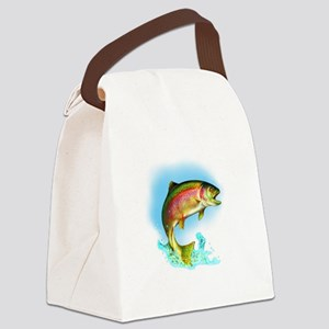 Jumping Rainbow Trout Canvas Lunch Bag