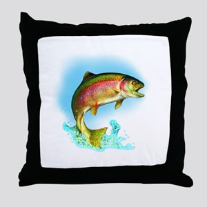 Jumping Rainbow Trout Throw Pillow