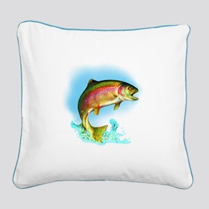Jumping Rainbow Trout Square Canvas Pillow