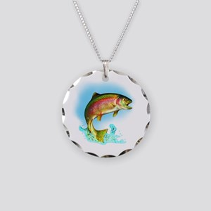 Jumping Rainbow Trout Necklace Circle Charm