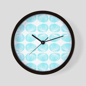 Aqua Color Shell Pattern. Wall Clock