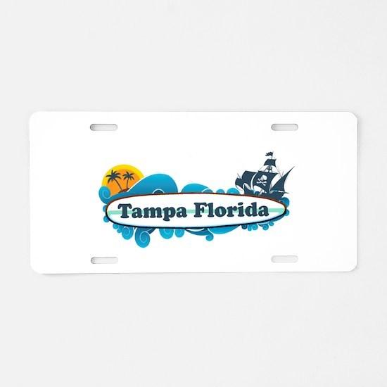Tampa Florida - Surf Design. Aluminum License Plat