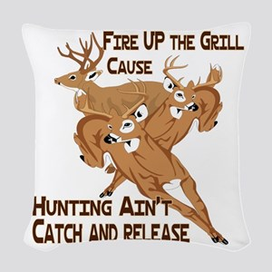 Fire Up the Grill Woven Throw Pillow