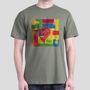 French Horn Colorblocks Dark T-Shirt