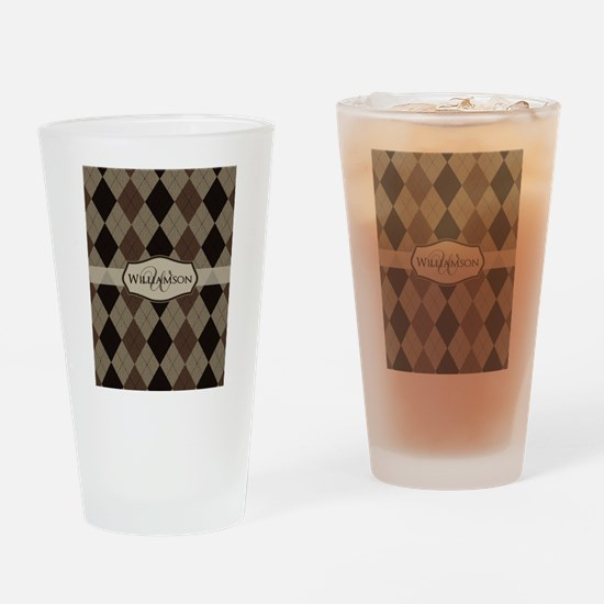 Cute Monogrammed men Drinking Glass