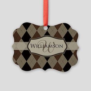 Brown Argyle Monogram Name Ornament