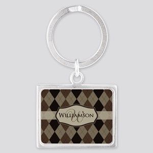 Brown Argyle Monogram Name Keychains