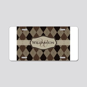 Brown Argyle Monogram Name Aluminum License Plate
