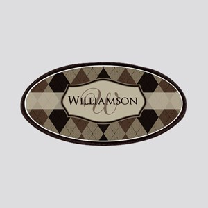 Brown Argyle Monogram Name Patches
