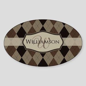 Brown Argyle Monogram Name Sticker