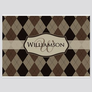 Brown Argyle Monogram Name Flat Cards