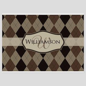 Brown Argyle Monogram Name Flat Cards