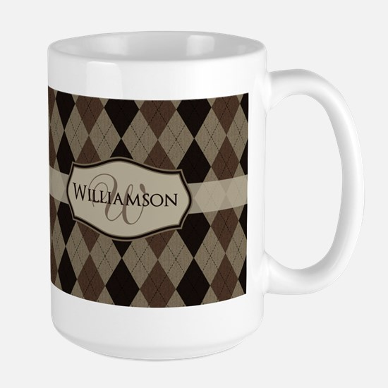 Brown Argyle Monogram Name Mug