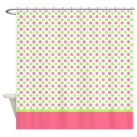 Green & Pink Polka Dot Shower Curtain