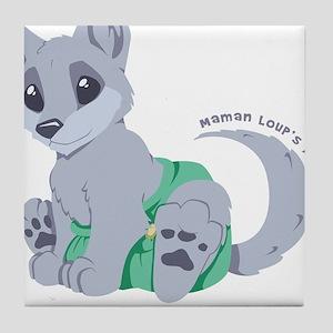 My cub wears cloth 1 (purple) Tile Coaster