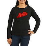 Midrealm Red Retro Women's Long Sleeve Dark T-Shir