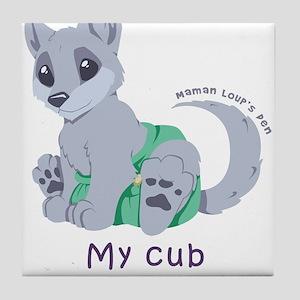 My cub wears cloth 2 (purple) Tile Coaster