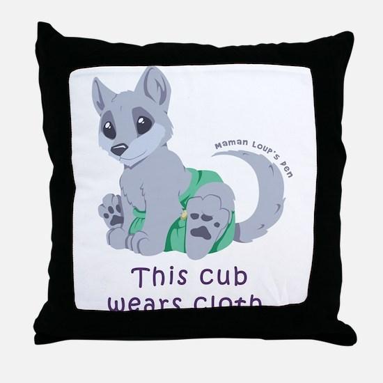 This cub wears cloth 2 (purple) Throw Pillow