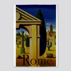 Vintage Rome Italy Travel 5'x7'Area Rug