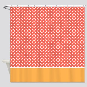 Orange With Little White Dots 2 Shower Curtain
