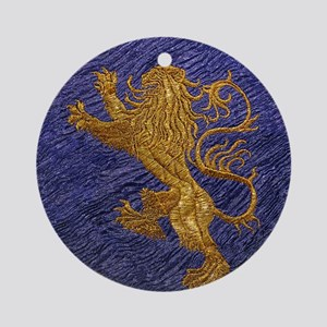 Rampant Lion - gold on blue Ornament (Round)