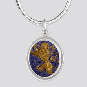 Rampant Lion - gold on blue Necklaces