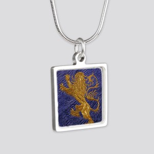Rampant Lion - gold on blue Necklaces