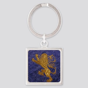 Rampant Lion - gold on blue Keychains