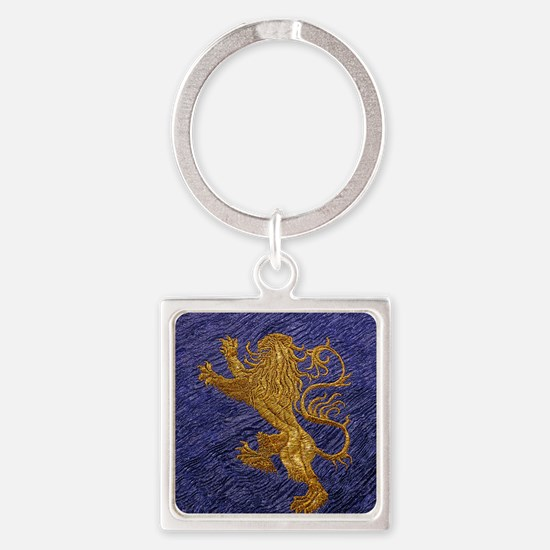 Rampant Lion - gold on blue Keychains