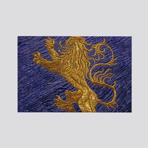 Rampant Lion - gold on blue Rectangle Magnet