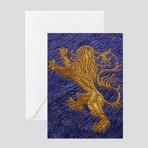 Rampant Lion - gold on blue Greeting Card