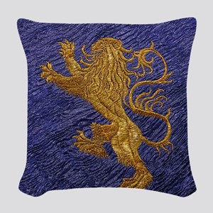 Rampant Lion - gold on blue Woven Throw Pillow