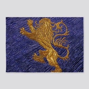 Rampant Lion - gold on blue 5'x7'Area Rug