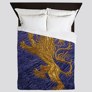 Rampant Lion - gold on blue Queen Duvet