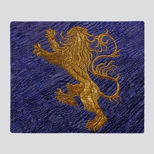 Rampant Lion - gold on blue Throw Blanket