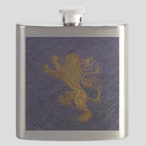 Rampant Lion - gold on blue Flask