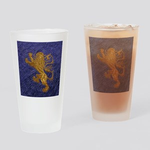 Rampant Lion - gold on blue Drinking Glass