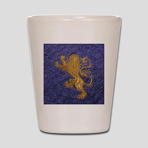 Rampant Lion - gold on blue Shot Glass